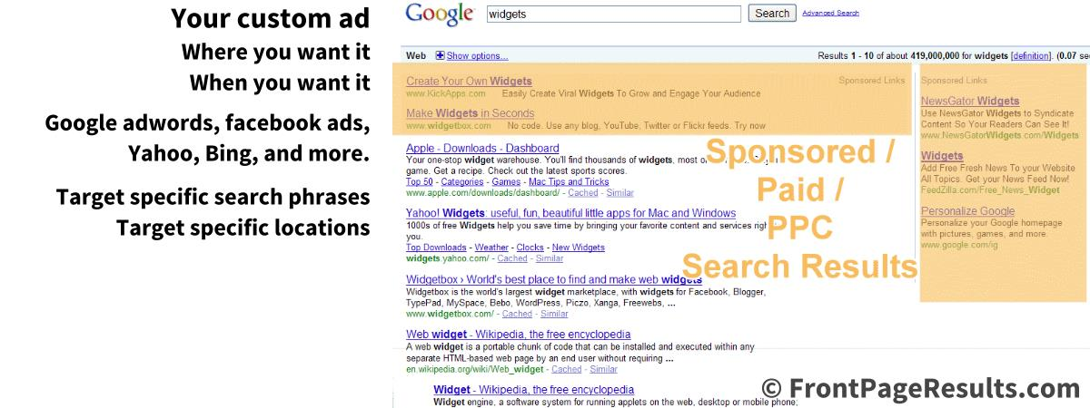 Paid placement on front page search results
